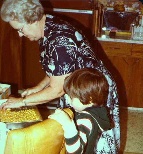 Aunt Sylvia McIlmoyle Cutting Her Peanut Butter Marshmallow Dessert Squares
