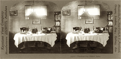 Stereoscopic Image of a Thanksgiving Dinner, circa 1923