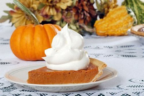Slice of Homemade Thanksgiving Pumpkin Pie