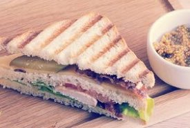 Toasted Club Sandwich with White Mustard Garnish
