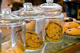 Glass Cookie Jars Filled with Cookies