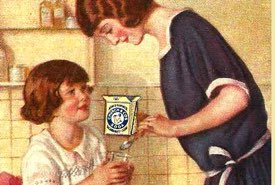 Vintage Illustration of a Mother Preparing an Effervescent Soda for Her Daughter