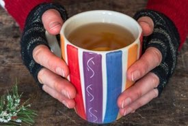 Hot Beverage in a Colorful Mug