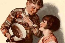 Vintage Illustration of Children Making Fudge