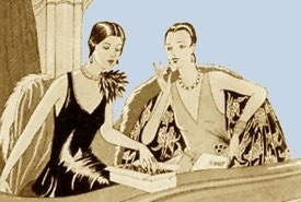 Vintage Illustration of Fashionable Ladies Enjoying a Box of Opera Creams