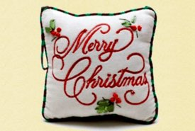 Pine Needle Pillow Embroidered with Merry Christmas