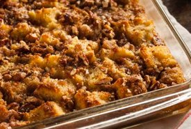 Bread Pudding with Raisins and Chopped Nuts
