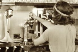 Soda Fountain Operator Preparing a Straight Soda Beverage