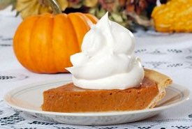 Thanksgiving Pumpkin Pie with Whipped Cream Topping
