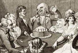 Illustration of a Twelfth Night Cake Being Enjoyed