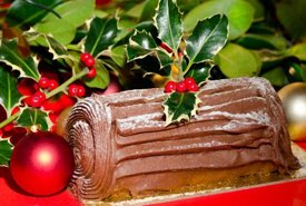 Yule Log Iced with Chocolate