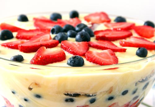 Traditional English Trifle Topped with Fruit