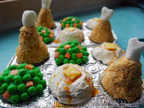 Turkey Dinner Decorated Cupcakes