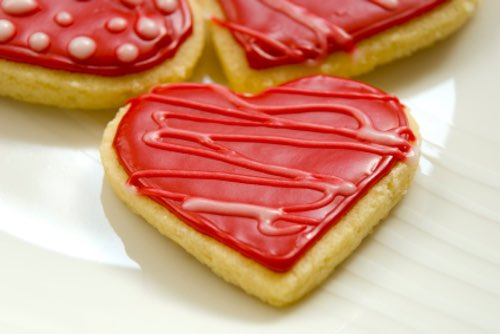 Red Heart-Shaped Valentine Cookies