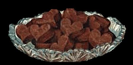 Dish of Vintage Chocolate Fudge Hearts