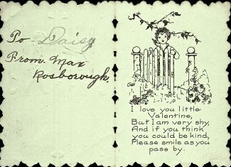 Interior of Child Valentine Card, 1920