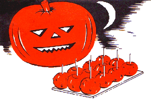 Vintage Halloween Candy Apples Illustration