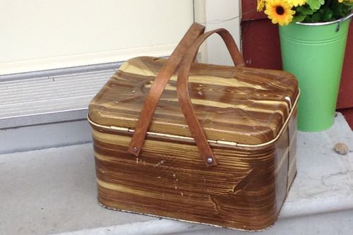 Vintage Picnic Basket Sitting on the Doorstep Ready to Pack