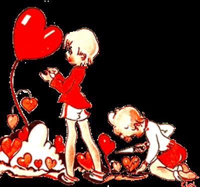 Vintage Valentine Drawing of Toddlers Tending Valentine Flowers