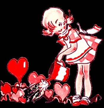 Vintage Valentine Illustration of a Little Girl Watering Valentine Flowers