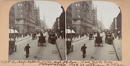 Antique Stereoscopic Photo of the Waldorf Astoria Hotel in 1903
