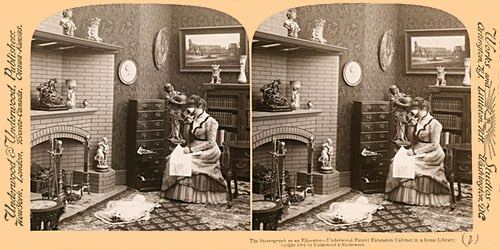 Antique Stereograph of a Woman with a Stereoscope