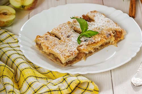 Homemade Apple Strudel Served on a Plate