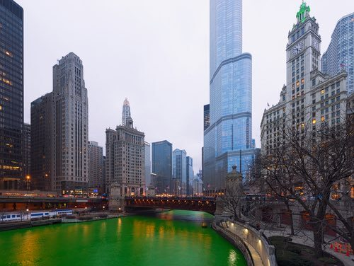 Chicago River Dyed Green on St Patrick's Day