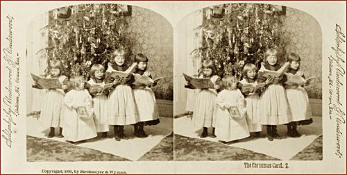 Stereoscopic Photo of Children Singing Carols