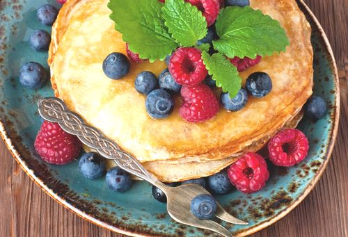 Homemade Crepes with Blueberries and Raspberries