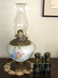Antique Oil Lamp and Field-Glasses