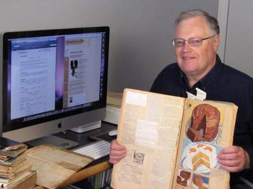 Don Bell of Peterborough Canada with His Mother's Vintage Recipe Scrapbooks