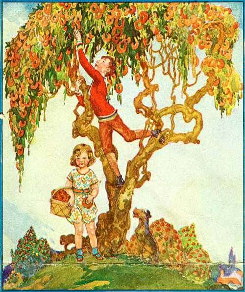 Vintage Illustration of Children And A Doughnut Tree