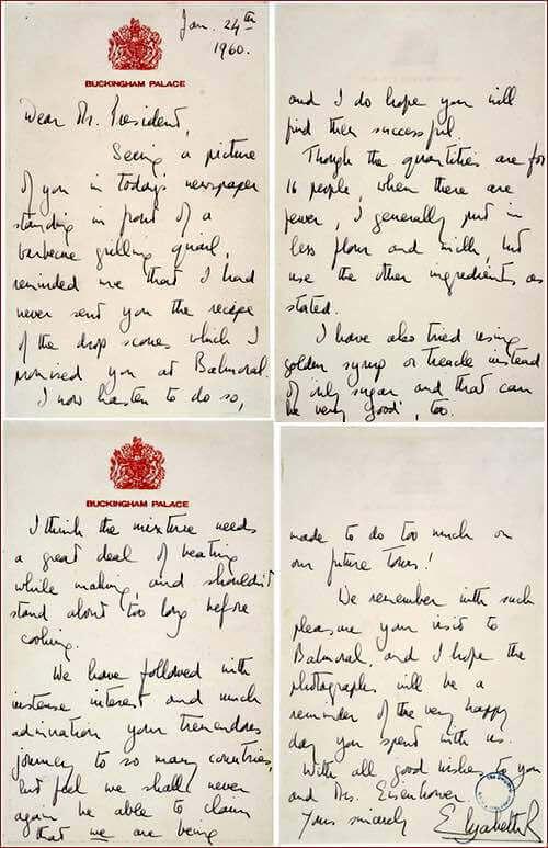 Queen's Letter to Eisenhower Concerning Drop Scones