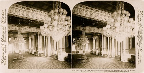 Stereoscopic Image Of The White House East Room In Washington, DC, 1902