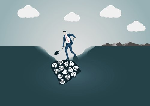 Illustration of a Man Digging for Diamonds