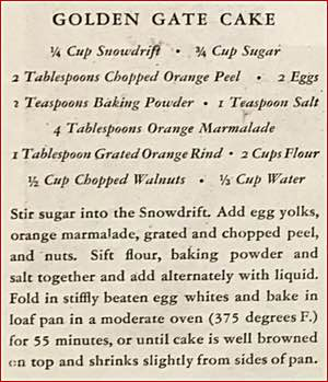 Golden Gate Cake Recipe Clipping