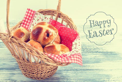 Basketful of Hot Cross Buns for a Happy Easter