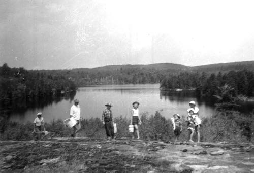 Family and Friends Hiking to a Picnic at Hicks Lake, Hastings Highlands, Ontario, 1958