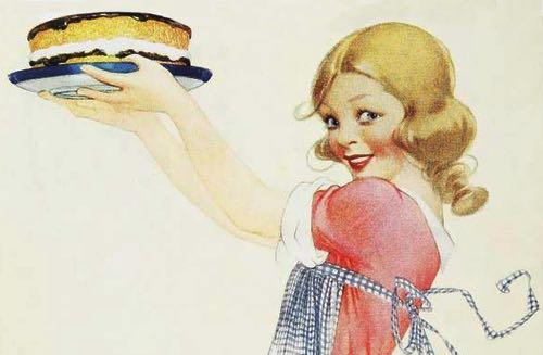 Illustration of a Pretty Girl Holding a Homemade Dessert Cake