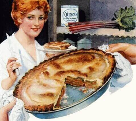 Vintage Housewife with Her Homemade Rhubarb Pie