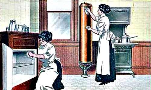 Vintage 1912 Illustration of Women Cleaning a Kitchen