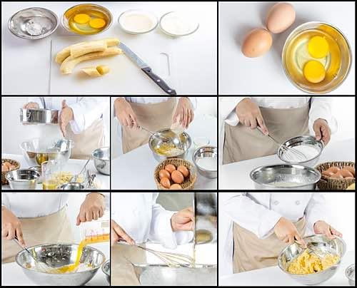 Illustration Showing How to Make Banana Cake