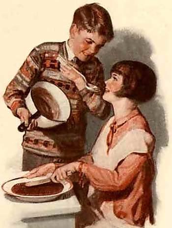 Vintage Illustration of Children Making Fudge