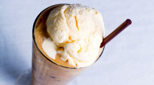 Old Fashioned Ice Cream Float With Straw