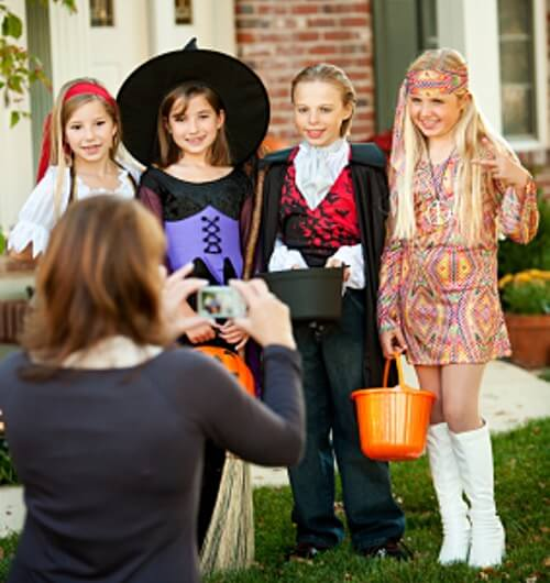 Children Dessed In Costumes For Halloween