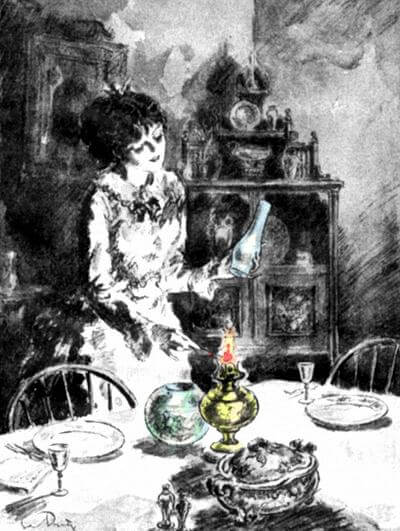 Young Woman Lighting an Oil Lamp