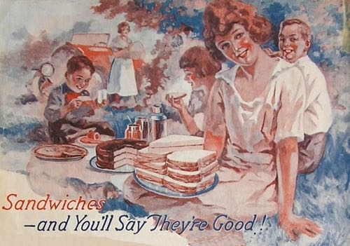 Vintage 1920 Illustration of a Family Enjoying Picnic Sandwiches with the Caption, You'll Say They're Good