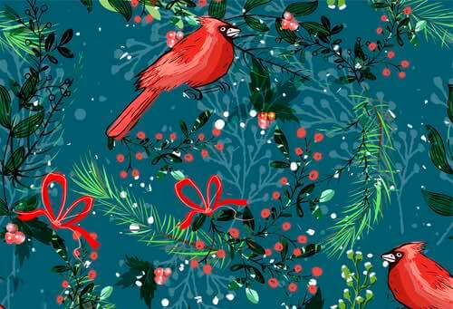 Pine Needles, Cardinals, and Holly
