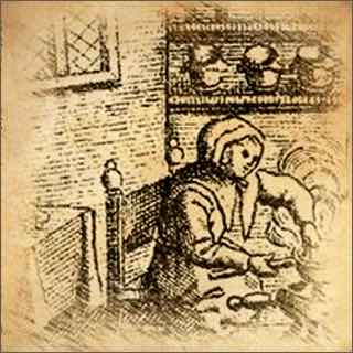 Historical Illustration Depicting Renaaissance Custard Making